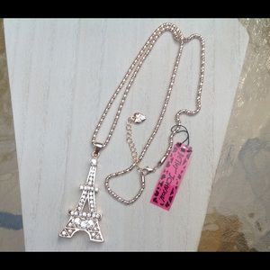 NWT Betsy Johnson Eiffel Tower Rhinestone Necklace